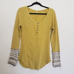 FREE PEOPLE Yellow Henley Thermal Sweater Cuff Top